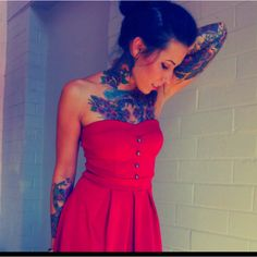#tattoos #tattooedgirl #girl #girls #beautiful #red #dress #tattoo www.acquiregarms.com