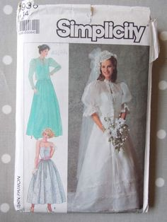 80s Bridal Gown Sun Party Dress Vintage Sewing Pattern by Simplicity Bust 36"