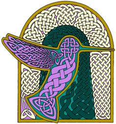 Hummingbird pen and ink Celtic knotwork