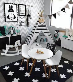Kid's Room. Black. White.