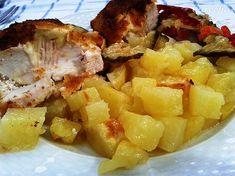 Plnené kuracie prsia pečené v rúre (fotorecept) - recept | Varecha.sk Fruit Salad, Potato Salad, Potatoes, Chicken, Ethnic Recipes, Foodies, Fruit Salads, Potato, Cubs