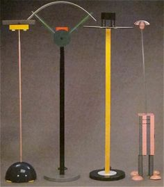 """Martine Bedin, Michele De Lucci, Ettore Sottsass and Martine Bedin: """"Splendid"""", """"Grand"""", """"King's"""" and """"Terminus"""" Lamps (1981-83) - Karl lagerfeld's Memphis collection @ Sotheby's"""