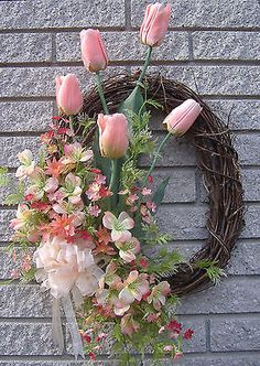 "30"" XL Peach Tulip Floral Spring Door Wreath Handmade"