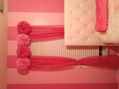 I like the pom poms on top of the curtains Teen Decor, Pink Curtains, Curtain Ideas, Room Stuff, Pom Poms, Little Princess, My Dream Home, Kids Rooms, Decoration