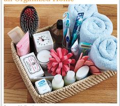 Guest room necessities basket.  I now have one in my spare bedroom, and this gave me a few new ideas of what to put in it.