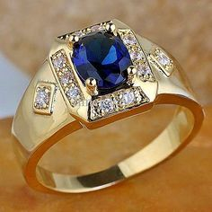 Men's Yellow Gold Over Oval Blue Sapphire Diamond Engagement Pinky Band Ring Sapphire Diamond Engagement, Sapphire Wedding Rings, Gold Rings Jewelry, Diamond Jewelry, Black Jewelry, Fine Jewelry, Emerald Jewelry, Gold Jewellery, Evil Eye Bracelet