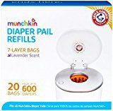 Munchkin Arm & Hammer Diaper Pail Snap, Seal and Toss Refill Bags, 20 Bags, Holds 600 Diapers - Best Sellers Couches, Arm And Hammer Diaper Pail, Donut Bag, Diaper Genie, Disposable Diapers, Baby List, Lavender Scent, Baby Registry, Blue Bags