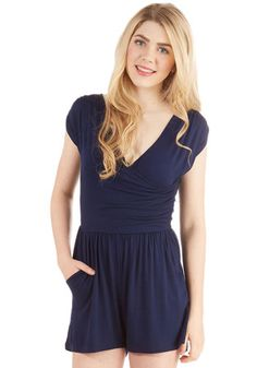 Hopscotch into Style Romper in Navy. Cute and casual fashion is just a stones toss away, thanks to this jersey-knit romper. #gold #prom #modcloth
