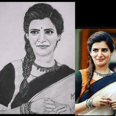 Samantha pencil drawing by Aiswarya