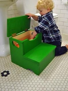How to Build a Storage Step Stool: A step stool is an important part of your child's independence, and adults will also find it helpful to reach upper cabinets and tall shelves. This is a simple woodworking project that the whole family can help build. #diynetwork