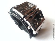 Часы-браслет ручной работы - чёрно-белый,часы,часы-браслет,часы наручные