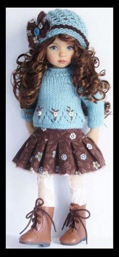 Handknit sweater and skirt set made for Effner little darling dolls.