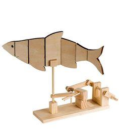 Timberkits Fish Automata Self-Assembly Wood Construction Moving Model Kit Kinetic Toys, Kinetic Art, Fishing Kit, Simple Machines, Timber Wood, Wood Toys, Diy Toys, Wood Construction, Craft Kits