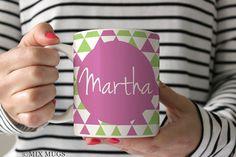 Geometric Mugs Purple Mug Mugs Personalized Custom Name by MixMugs