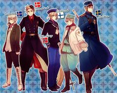Tags: Axis Powers: Hetalia, Denmark, Sweden, Finland, Norway, Iceland, Nordic Countries, Official Art, Mr. Puffin, Himaruya Hidekaz, Tumblr