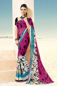 This saree with a shaded combination of pink and white looks very nice and the print on the saree of black color with an matching black color blouse gives you an extra ordiniary effects.
