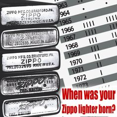 We've heard some wild rumors about the meaning of the bottom stamps on Zippo lighters. Some say it's the quality rating of the lighter, others say it's the inmate number of the prisoner that made it. The truth: it's when your lighter was born! 55 years ago today we began putting date codes on all of our pocket lighters. See when your Zippo lighter was born by clicking on the pic!
