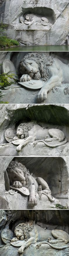 """1989-ish: """"The Lion of Lucerne"""", Switzerland 1820–21 ~ Commemorates the Swiss Guards massacred in 1792 during the French Revolution. Helvetiorum Fidei ac Virtuti """"To the loyalty & bravery of the Swiss"""". The dying lion is portrayed impaled by a spear, covering a shield bearing the fleur-de-lis of the French monarchy; beside him is another shield bearing the coat of arms of Switzerland. The inscription below the sculpture lists the names of the officers"""