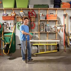 Garage Storage Solutions: One-Weekend Wall of Storage (The Family Handyman). I want to do this in my garage! Diy Garage Storage Systems, Garage Organization Tips, Pegboard Storage, Tool Storage, Storage Ideas, Storage Room, Diy Storage, Basement Storage, Modular Storage