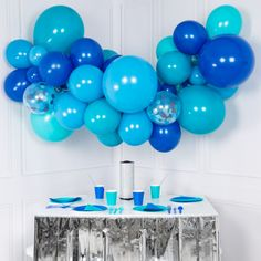 Shop our Blue Mix Balloon Garland for your next party or event. Perfect for Under The Sea Themes or Baby Showers. Free Delivery
