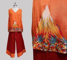 Rare des années 1920 de soie plage pyjama par Gollyanna sur Etsy