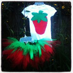 Strawberry tutu outfit set- baby infant toddler girl- strawberry festival set red green  on Etsy, $23.00