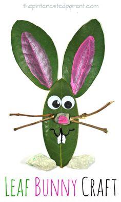 Leaf Easter Bunny Craft. Easy spring nature arts