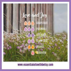Love and Joy Diffuser Blend 3 drops of Grapefruit 3 drops of Patchouli 2 drops of Lavender 2 drops of Clary Sage 2 drops of Orange 1 drop of Geranium