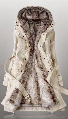 Long Sleeved Faux Fur Hooded #Jacket