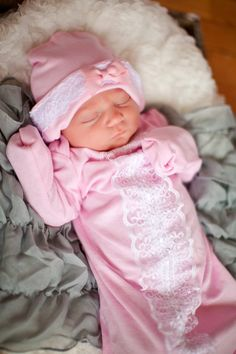 Newborn Layette Gown and Hat Lace and Cotton by boutiquesewunique, $40.00 I want this !!!!! Super cute