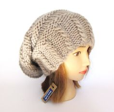174956c9607 Slouchy beanie hat light beige slouch hat chunky knit slouchy hat Irish  knitwear fashion accessories for women pure wool Irish gift for her