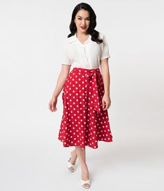de557bc104c5 1950s Swing Skirt, Poodle Skirt, Pencil Skirts Vintage Style Red White Polka  Dot Tie