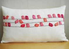 Sukan / Pinks Birds White Linen Pillow Cover Lumbar di sukanart