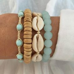 beach bracelet stack beach jewelry boho style gift for her bohemian bracelets beachy mermaid shells sea glass coconut aqua