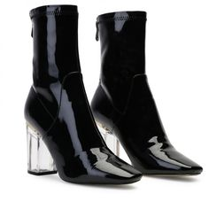 Chloe Perspex Heeled Ankle Boots in Black | Public Desire