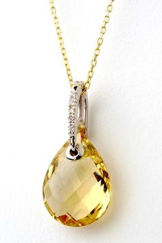 Jewelmak 14K White Gold Champagne Quartz & Diamond Pendant Necklace