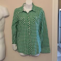 Green and white check button up shirt Cute green and white check button up shirt. Picture shows one sleeve down and one sleeve rolled up to show white cuff. Thin material so great for spring! Delias Tops Button Down Shirts