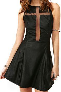 ROMWE Mesh Crossed Transparent Sleeveless PU Black Dress