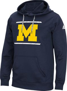 Michigan Wolverines Mens Blue Sidelines Energize Synthetic Hoodie by Adidas $69.95