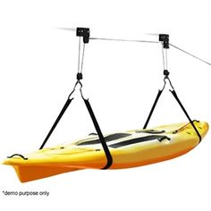 Kayak Hoist makes it easy to hang your canoe in the garage and of course get it down.