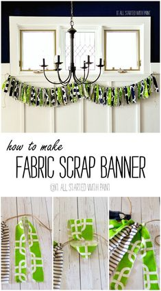 Fabric Scrap Banner - It All Started With Paint Fabric Strip Garland, Fabric Strips, Rag Banner, Light Garland, Diy Craft Projects, Diy Crafts, Photography Props, Fabric Crafts, Craft Supplies