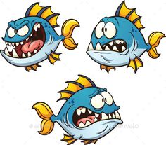 Big, fat and evil cartoon fish. Vector clip art illustration with simple gradien… Big, fat and evil cartoon fish. Vector clip art illustration with simple gradients. Each on a separate layer. Eye pupils on separa Fish Cartoon Drawing, Cute Cartoon Fish, Cartoon Sea Animals, Drawing Cartoon Characters, Fish Drawings, Cartoon Gifs, Doodle Drawings, Character Drawing, Cartoon Drawings