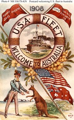 Postcard 1908, The Great White Fleet was the popular nickname for the United States Navy battle fleet that completed a circumnavigation of the globe from December 16, 1907, to February 22, 1909, by order of U.S. President Theodore Roosevelt.