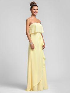 Vestido de Dama de Honor - Narciso Corte Recto Strapless - Hasta el Suelo  Gasa Tallas b6522c42a