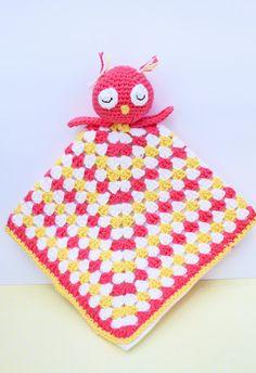 Crochet Owl Snuggle Buddy Blanket - Pink & Yellow by Cherry Tree Lane