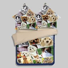 LELVA Cute Dog Print Duvet Cover Set Dogs Bedding Set Teens Bedding Kids Bedding Boys and Girls Twin Full Queen Queen 4 * Be sure to check out this awesome product.