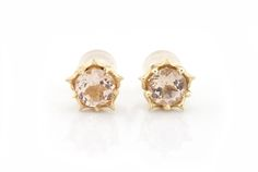 Morganite stud earrings with floral setting and 5 prongs, fancy and unique stud earrings with dusty rose gemstone shown in 14k gold by ParkFordJewelry on Etsy