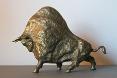 Incredible Brass Bull Sculpture - Figurine - Mid Century