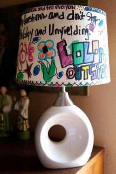 Graffiti lamp shade - thats a fun colorful idea!Hmm would you let your kids do this @Marie Hamilton