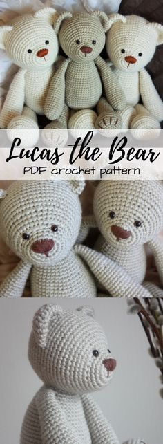 Lucas the bear PDF crochet pattern. Cute Amigurumi toy to make for a child or baby. So sweet! #etsy #ad Crochet Amigurumi, Knit Or Crochet, Crochet For Kids, Amigurumi Patterns, Crochet Crafts, Crochet Dolls, Crochet Baby, Crochet Projects, Crotchet
